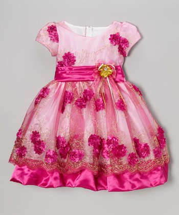 Pink Flower Overlay Dress - Infant, Toddler & Girls
