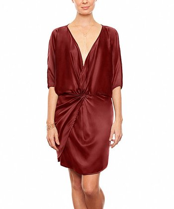 Burgundy Michelle Silk Dress