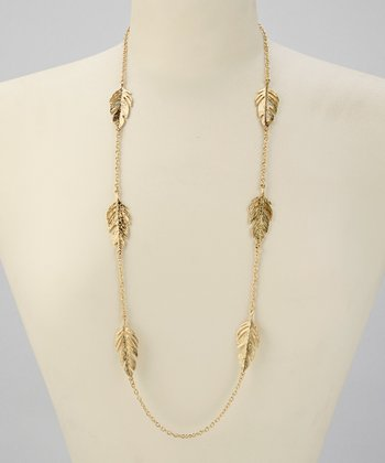 Gold Feather Station Necklace