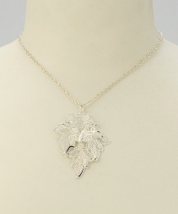 Silver Filigree Leaf Pendant Necklace