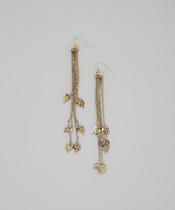 Gold Chain Leaf Drop Earrings
