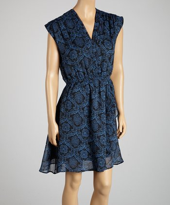 Blue & Black Damask Surplice Dress - Women