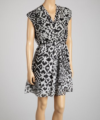 White & Black Ikat Tribal Surplice Dress