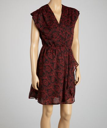 Red & Black Damask Surplice Dress - Women
