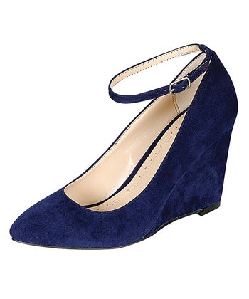 Navy Reya Strap Wedge