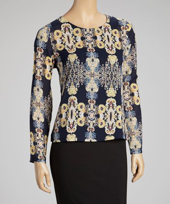 Blue & Gold Graphic Zipper Top