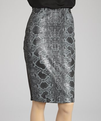 Gray Python Pencil Skirt