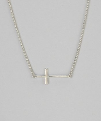 Silver Sideways Cross Pendant Necklace