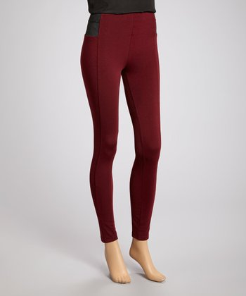 Burgundy Color Block Skinny Pants