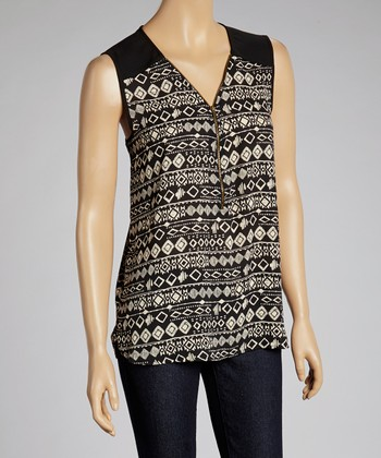 Black & Cream Geometric Half-Zip Sleeveless Top