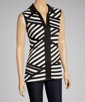 Black & Ivory Stripe Sleeveless Top