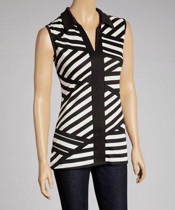 Black & Ivory Stripe Sleeveless Top