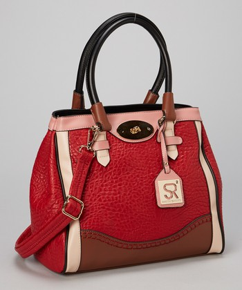 Red Color Block Satchel