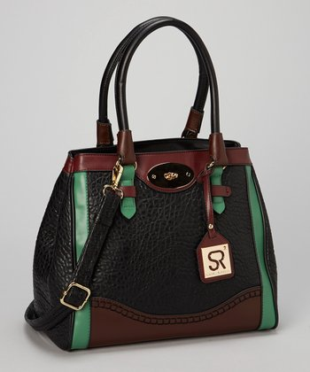 Black Color Block Satchel