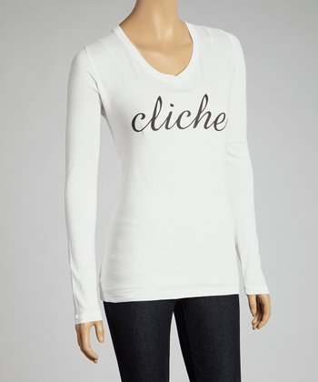 White 'Cliche' Long-Sleeve Top