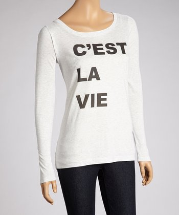 White 'C'est La Vie' Long-Sleeve Top
