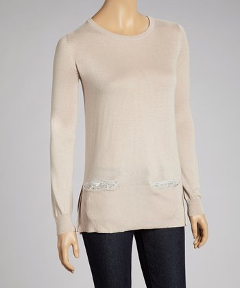 Taupe Sequin Sweater
