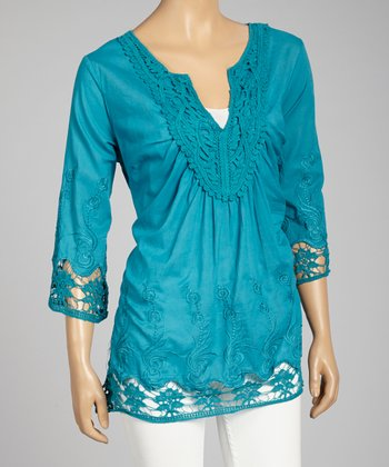 Blue Crochet-Trim V-Neck Top