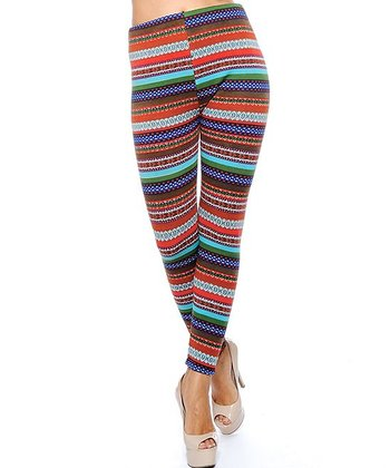 Turquoise & Orange Nordic Fleece Lined Leggings