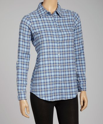 NINETY Blue Cabana Plaid Flannel Button-Up