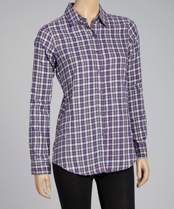 NINETY Purple Plaid Flannel Button-Up