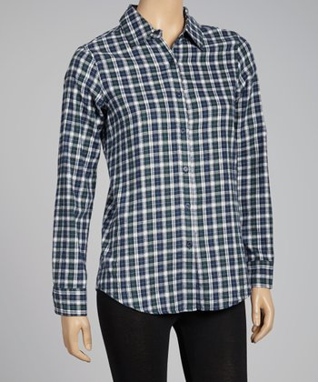 NINETY Blue Plaid Flannel Button-Up