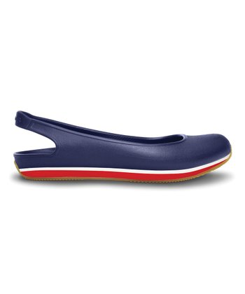 Nautical Navy & Red Crocs Retro Slingback Flat - Women