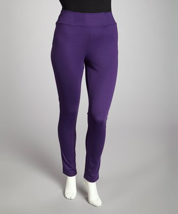 Purple Pull-On Pants - Plus
