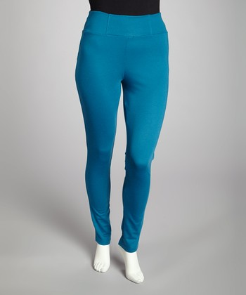 Teal Pull-On Pants - Plus