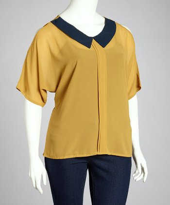 Mustard & Black Cutout Top - Plus