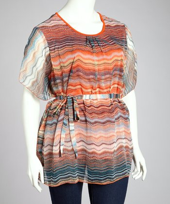Orange & White Abstract Wave Cape-Sleeve Top - Plus