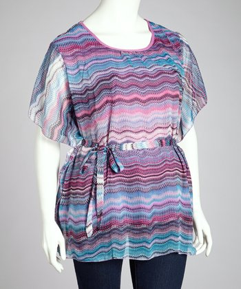 Raspberry & Blue Abstract Wave Cape-Sleeve Top - Plus