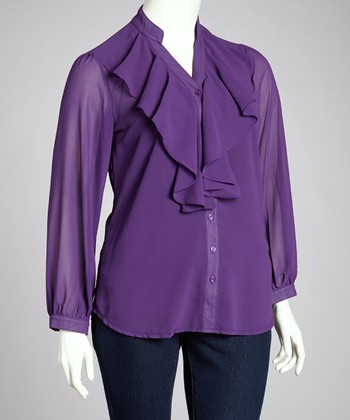 Purple Ruffle Top - Plus