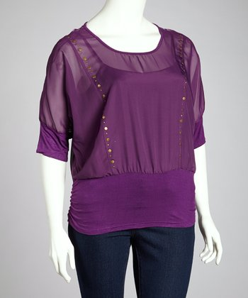 Purple Sheer Lace Back Top - Plus
