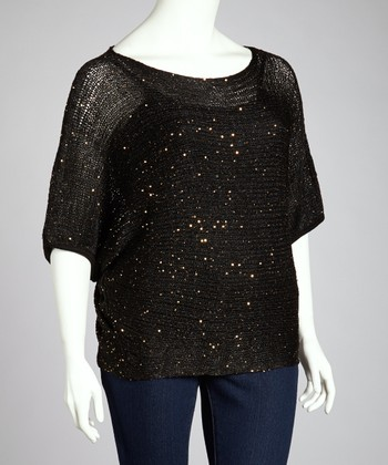 Black Metallic Sparkle Dolman Top - Plus