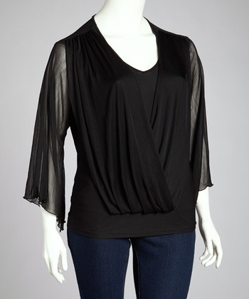 Black Draped Cape-Sleeve Top - Plus