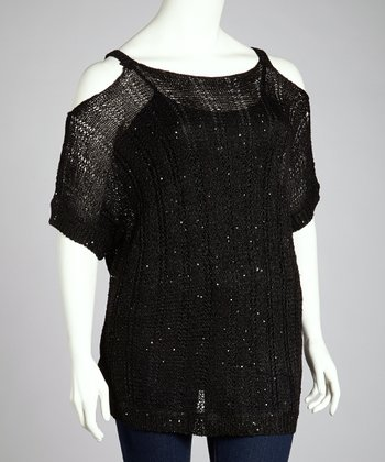 Black Sparkle Cutout Top - Plus