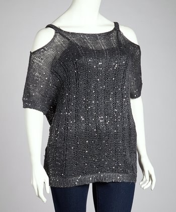 Charcoal Sparkle Cutout Top - Plus