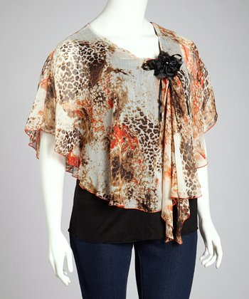 Rust Animal Print Cape-Sleeve Top - Plus