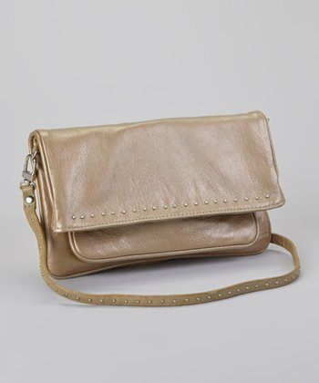 Metallic Studded Taupe Crossbody Bag