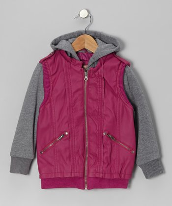 Orchid Plum Zip-Up Hooded Jacket - Girls