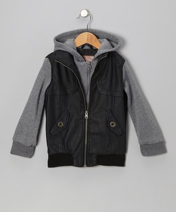 Black & Gray Zip-Up Hooded Jacket - Girls