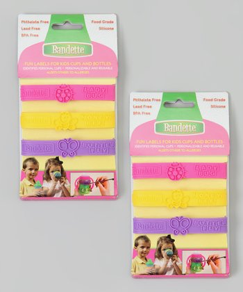 Pink, Yellow & Purple Garden Bug Cup/Bottle Label - Set of Two