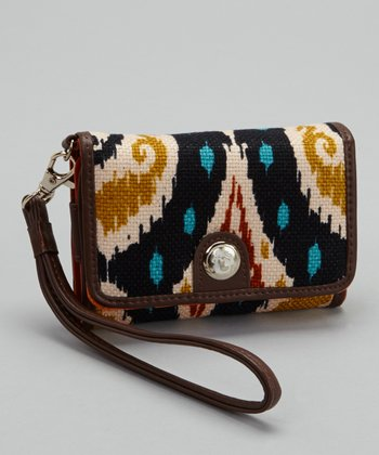 Brown & Orange Christina Wristlet