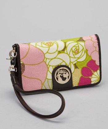 Spartina 449 Cream & Pink Camellia Folio Wallet