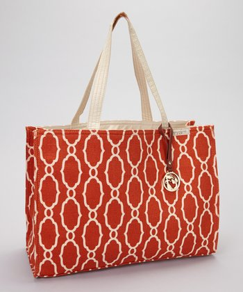 Orange & Cream Sallie Ann Market Tote