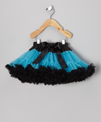 Turquoise & Black Pettiskirt - Toddler & Girls