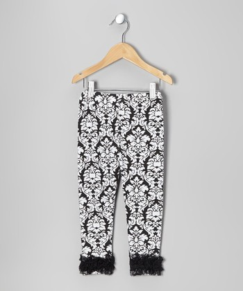 Black Damask Chiffon Ruffle Leggings - Toddler & Girls
