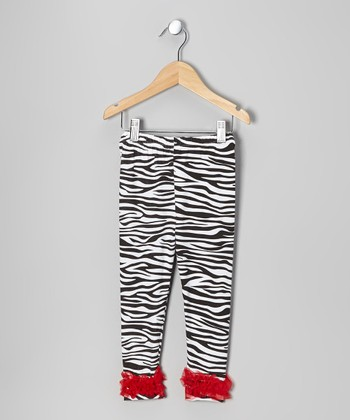 Red Zebra Chiffon Ruffle Leggings - Toddler & Girls