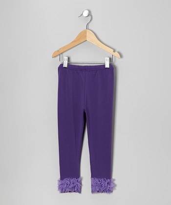 Purple Chiffon Ruffle Leggings - Toddler & Girls